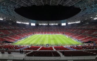 epa08694508 General view of the Puskas Arena before the UEFA Super Cup final between Bayern Munich and Sevilla FC at the Puskas Arena in Budapest, Hungary, 24 September 2020.  EPA/Laszlo Balogh / POOL