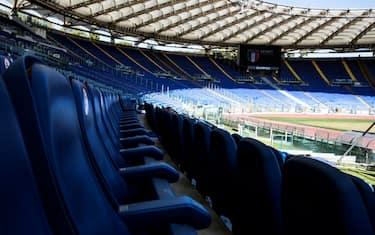 Misure di distanziamento in tribuna Montemario dello Stadio Olimpico durante la conferenza stampa di presentazione degli Internazionali BNL d'Italia 2020 di Tennis allo Stadio Olimpico, Roma, 08 settembre 2020. ANSA/ANGELO CARCONI