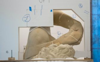 The digital twin of Michelangelo s David realized in a laboratory located in the historic center of Florence, Italy, 14 April 2021. The departure from Tuscany will happen today. In the coming days, the copy will fly to Dubai where it will represent Italy at Expo. The reproduction of David, a masterpiece kept by the Academy Gallery in Florence, was made thanks to a sophisticated digitalization and then to 3D printing in 14 pieces. It was a long process that began in December and ended just today. David s twin, of the same size as the original, weighs 400 kilos plus 150 kilos of base, and is made of acrylic resin covered with marble dust. Digital David will arrive in Dubai next week by plane and will be officially presented. ANSA/CLAUDIO GIOVANNINI