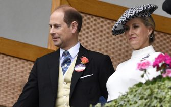 epa07658046 Britain's Prince Edward (L) and Sophie, Count and Countess of Wessex attend day two of Royal Ascot, in Ascot, Britain 19 June 2019. Royal Ascot is Britain's most valuable horse race meeting and social event running from 18 to 22 June.  EPA/NEIL HALL