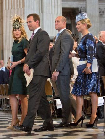 Peter Phillips and wife, Autumn, Zara Tindall and husband Mike at the national service of thanksgiving to mark the 90th birthday of Queen Elizabeth II in St Paul's Cathedral, London.