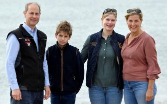 Britain's Prince Edward and Sophie, Countess of Wessex, pose with their children Lady Louise and James, Viscount Severn, as they take part in the Great British Beach Clean in Southsea, Britain September 20, 2020. REUTERS/Toby Melville/Pool