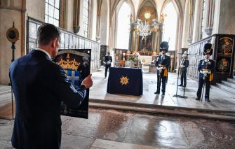 epa09140960 A view during a ceremony for Britain's late Prince Philip, Duke of Edinburgh, at the Riddarholmen Church in Stockholm, Sweden, 17 April 2021. Prince Philip's Royal Order of the Seraphim shield is placed in the church during a one hour bell-ringing. Prince Philip was made a Knight of the Order of the Seraphim by King Gustaf VI Adolf in 1954. Britain's Prince Philip, the Duke of Edinburgh, has died on 09 April 2021 aged 99 and his funeral will take place today in Windsor.  EPA/JESSICA GOW SWEDEN OUT