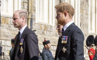 The Duke of Cambridge and the Duke of Sussex follow the Land Rover Defender carrying the Duke of Edinburgh's coffin during the funeral of the Duke of Edinburgh at Windsor Castle, Berkshire. Picture date: Saturday April 17, 2021.