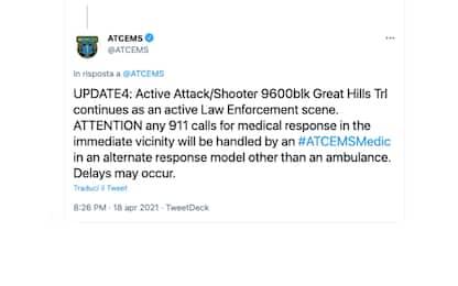 Usa, sparatoria ad Austin, in Texas: tre morti, killer in fuga