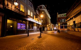 First Friday night of early pub closures due to the government hospitality curfew in Northampton, England on 25th September 2020. (Photo by Leila Coker/MI News/NurPhoto via Getty Images)