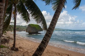 BARBADOS - 2005/12/04: The Soup Bowl at Bathsheba, a beach with interesting rock formation formed by erosion on the east coast of Barbados, an island in the Caribbean. (Photo by Wolfgang Kaehler/LightRocket via Getty Images)