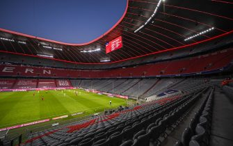 epa09145088 (FILE) General view of empty stands at the Allianz Arena during the German Bundesliga soccer match between FC Bayern Munich and SV Werder Bremen in Munich, Germany, 21 November 2020  (reissued on 19 April 2021). The Mayor of Munich, Dieter Reiter, said on 19 April 2021, that fans could still be barred from attending EURO 2020 soccer matches in Munich, although the UEFA seeks guarantees that there will be supporters allowed in the stands.  EPA/LUKAS BARTH / POOL CONDITIONS - ATTENTION: The DFL regulations prohibit any use of photographs as image sequences and/or quasi-video. *** Local Caption *** 56512212