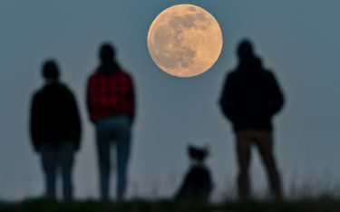 """dpatop - 26 April 2021, Brandenburg, Sieversdorf: People stand on a hill and watch the rising moon. The waxing moon is 99.7 percent visible that evening. On April 27, 2021, a so-called """"supermoon"""" occurs. Then the distance between the moon and the earth is smaller than usual. Photo: Patrick Pleul/dpa-Zentralbild/dpa"""