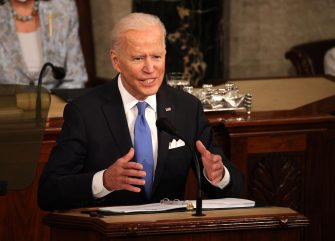 epa09166370 US President Joe Biden addresses a joint sesession of congress in the House chamber of the US Capitol in Washington, DC, USA, 28 April 2021. On the eve of his 100th day in office, Biden spoke about his plan to revive America's economy and health as it continues to recover from a devastating pandemic. He delivered his speech before 200 invited lawmakers and other government officials instead of the normal 1600 guests because of the ongoing COVID-19 pandemic.  EPA/Chip Somodevilla / POOL