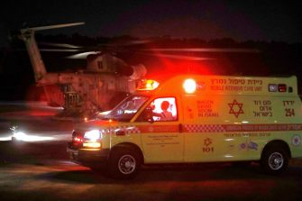 Israeli military helicopter evacueting injured people from Ziv hospital in the Israeli northern city of Safed to the central Israel hospitals on April 30,2021. - A massive stampede at a densely packed Jewish pilgrimage site killed at least 44 people in northern Israel. The disaster occurred in Meron at the site of the reputed tomb of Rabbi Shimon Bar Yochai, a second-century Talmudic sage, where mainly ultra-Orthodox Jews flock to mark the Lag BaOmer holiday. (Photo by JALAA MAREY / AFP) (Photo by JALAA MAREY/AFP via Getty Images)