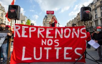 Illustration picture shows a manifestation of trade unions, associations, cultural and political organizations, on the first of May, Labour Day, the International Workers' Day, Saturday 01 May 2021, in Brussels. BELGA PHOTO NICOLAS MAETERLINCK (Photo by NICOLAS MAETERLINCK/Belga/Sipa USA)