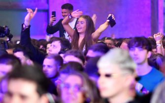 LIVERPOOL, ENGLAND - APRIL 30: A woman dances on the dance floor as Nightclub Circus hosts the first dance event, which will welcome 6,000 clubbers to the city's Bramley-Moore Dock warehouse on April 30, 2021 in Liverpool, England. The event is part of the national Events Research Programme which will provide data on how events could be permitted to safely reopen. (Photo by Anthony Devlin/Getty Images)