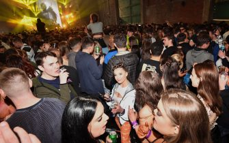 LIVERPOOL, ENGLAND - APRIL 30: General view of the dance floor as Nightclub Circus hosts the first dance event, which will welcome 6,000 clubbers to the city's Bramley-Moore Dock warehouse on April 30, 2021 in Liverpool, England. The event is part of the national Events Research Programme which will provide data on how events could be permitted to safely reopen. (Photo by Anthony Devlin/Getty Images)