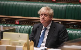 A handout photograph released by the UK Parliament shows British Prime Minister Boris Johnson during the Prime Minister's Questions (PMQs) in the House of Commons in London, Britain, 28 April 2021. ANSA/JESSICA TAYLOR/UK PARLIAMENT HANDOUT MANDATORY CREDIT: UK PARLIAMENT/JESSICA TAYLOR HANDOUT EDITORIAL USE ONLY/NO SALES