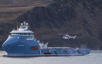 epa06291135 (FILE) - An undated photograph of Norwegian Fire Fighting Vessel  Polarsyssel, in Norway, (issued 26 October 2017). Reports state that the Polarsysse is participating in the rescue operation  after a Russian helicopter with eight people aboard crashed in the sea outside Barentsburg at Svalbard, Spitsbergen, and the Norway Rescue Service confirmed the helicopter 'came down' just 2km off the coast of Barentsburg.  EPA/Jan-Morten Bjoernbakk NORWAY OUT
