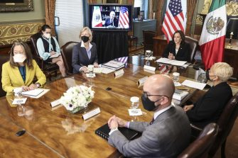 U.S. Vice President Kamala Harris, center right, listens while meeting virtually with Andres Manuel Lopez Obrador, Mexico's president, in Washington, D.C., U.S., on Friday, May 7, 2021. The two are expected to discuss working together to address relief needs in Guatemala and deepening cooperation on migration. Photographer: Oliver Contreras/UPI/Bloomberg via Getty Images