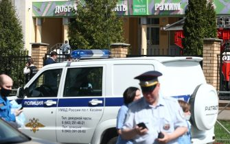 KAZAN, RUSSIA – MAY 11, 2021: Police officers by school No 175 where two attackers opened fire; at least one teacher and eight students are reported dead. Yegor Aleyev/TASS/Sipa USA