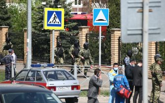 KAZAN, RUSSIA – MAY 11, 2021: Law enforecement officers by School No 175 where two attackers opened fire; at least one teacher and eight students are reported dead. Yegor Aleyev/TASS/Sipa USA