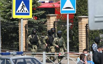 KAZAN, RUSSIA – MAY 11, 2021: Russian National Guard officers by school No 175 where two attackers opened fire; at least one teacher and eight students are reported dead. Yegor Aleyev/TASS/Sipa USA