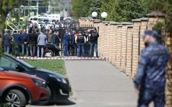 KAZAN, RUSSIA – MAY 11, 2021: Law enforcement officers by school No 175 where two attackers opened fire; at least one teacher and eight students are reported dead. Yegor Aleyev/TASS/Sipa USA