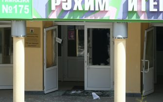 KAZAN, RUSSIA – MAY 11, 2021: Shattered glass by the entrance to school No 175 where two attackers opened fire; at least one teacher and eight students are reported dead. Yegor Aleyev/TASS/Sipa USA