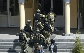 KAZAN, RUSSIA – MAY 11, 2021: FSB officers enter school No 175 where two attackers opened fire; at least one teacher and eight students are reported dead. Yegor Aleyev/TASS/Sipa USA