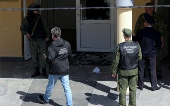 KAZAN, RUSSIA – MAY 11, 2021: Forensic experts and Investigative Committee employees at school No 175 where two attackers opened fire; at least one teacher and eight students are reported dead. Yegor Aleyev/TASS/Sipa USA