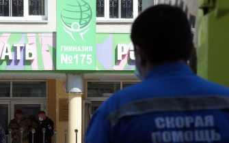KAZAN, RUSSIA – MAY 11, 2021: A paramedic at school No 175 where two attackers opened fire; at least one teacher and eight students are reported dead. Yegor Aleyev/TASS/Sipa USA