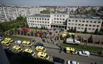 KAZAN, RUSSIA – MAY 11, 2021: Ambulances and police cars at school No 175 where two attackers opened fire; at least one teacher and eight students are reported dead. Yegor Aleyev/TASS/Sipa USA