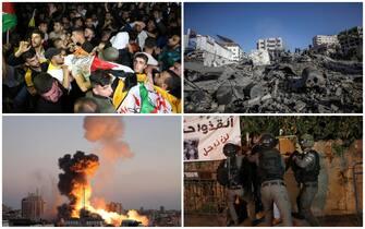 Quattro diverse immagini del conflitto tra Hamas e Israele nella Striscia di Gaza