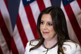 Representative Elise Stefanik, a Republican from New York, pauses while speaking to members of the media after a House GOP conference meeting at the U.S. Capitol in Washington, D.C., U.S., on Friday, May 14, 2021. House Republicans formally selected Stefanik, a staunch defender of Donald Trump, as their No. 3 leader Friday to replace Wyoming's Liz Cheney, amid a struggle within the party over the former presidents role in shaping its future. Photographer: Samuel Corum/Bloomberg via Getty Images