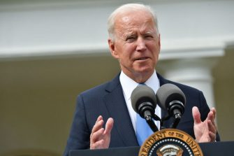 US President Joe Biden delivers remarks on Covid-19 response and the vaccination program, from the Rose Garden of the White House, Washington, DC on May 13, 2021. (Photo by Nicholas Kamm / AFP) (Photo by NICHOLAS KAMM/AFP via Getty Images)