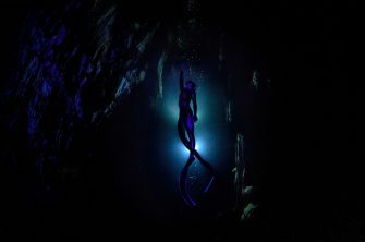 Turkish world record-holder free-diver Sahika Ercumen is seen during her training before attempting to break the 90-meter women's cave diving (without fins) world record at the Gilindire Cave in Aydincik, a town in southern Turkey's Mersin.  Gilindire Cave It is a glacial cave known as the 8th wonder of the world.