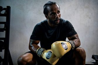 """Ducas Delian takes a break during a training session on May 9, 2019 in Port-au-Prince. - Delian, 34 and a single father, is a self-taught heavyweight boxer training on his own and earning a living teaching private boxing classes. He denounces as unfair decisions by Haiti's boxing federation not to let him fight in tournaments, and he feels betrayed by the federation, """"I guess it's all about who you know and it's all about who you are friends with, you know try to get a shot in this country is so hard."""""""