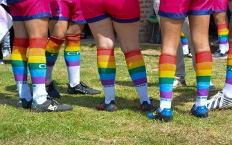 epa08514479 A handout photo made available by the Ciervos Pampas rugby club shows the rainbow-colored socks celebrating LGBT pride worn by its players, in Buenos Aires, Argentina, 28 June 2020. Ciervos Pampas is the first rugby club in Latin America to challenge stereotypes by promoting inclusitivity and championing sexual diversity. It is the only team in the region that is a member of the 'International Gay Rugby' group.  EPA/CIERVOS PAMPAS HANDOUT  HANDOUT EDITORIAL USE ONLY/NO SALES