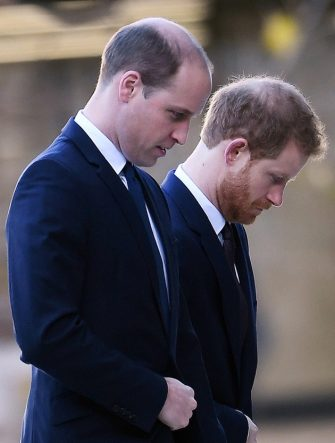 epa09139897 (FILE) - Britain's Prince William, Duke of Cambridge (L) and Prince Harry arrive at St. Paul's Cathedral in London, Britain, 14 December 2017 (reissued 16 April 2021). According to the Buckingham Palace, the Dukes of Cambridge and Sussex will not walk next to each other and won't wear military uniforms during their grandfather's funeral. Britain's Prince Philip, the Duke of Edinburgh, has died on 09 April 2021 aged 99 and his funeral will take place in Windsor on 17 April.  EPA/ANDY RAIN