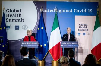epa09218430 Italian Prime Minister Mario Draghi (R) and President of European Commission Ursula von der Leyen (L) hold a press conference during the Global Health Summit at Villa Pamphilij, Rome, Italy, 21 May 2021.  The summit, held in Rome and online amidst the ongoing coronavirus (COVID-19) pandemic as part of Italy's G20 Presidency, is aiming to develop a 'Rome Declaration' with principles to guide multilateral cooperation and action to prevent future global health crises.  EPA/ROBERTO MONALDO/ LAPRESSE/ POOL