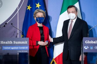 epa09218431 Italian Prime Minister Mario Draghi (R) and President of European Commission Ursula von der Leyen (L) hold a press conference during the Global Health Summit at Villa Pamphilij, Rome, Italy, 21 May 2021.  The summit, held in Rome and online amidst the ongoing coronavirus (COVID-19) pandemic as part of Italy's G20 Presidency, is aiming to develop a 'Rome Declaration' with principles to guide multilateral cooperation and action to prevent future global health crises.  EPA/ROBERTO MONALDO/ LAPRESSE/ POOL