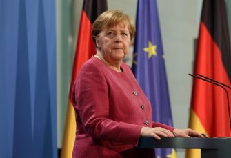 epa09218303 German Chancellor Angela Merkel (CDU) speaks after participating in the Global Health Summit in Berlin, Germany, 21 May 2021. The summit, held in Rome and online amidst the ongoing coronavirus (COVID-19) pandemic as part of Italy's G20 Presidency, is aiming to develop a 'Rome Declaration' with principles to guide multilateral cooperation and action to prevent future global health crises.  EPA/ADAM BERRY / POOL