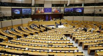 epa09211134 General view of hemicycle during a debate during the debate 'Meeting the Global COVID-19 challenge: effects of waiver of the WTO TRIPS agreement on COVID-19 vaccines, treatment, equipment and increasing production and manufacturing capacity in developing countries' during a plenary session of the European Parliament in Brussels, Belgium, 19 May 2021.  EPA/OLIVIER HOSLET
