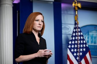 WASHINGTON, DC - MAY 14: White House Press Secretary Jen Psaki attends the daily press briefing at the White House on May 14, 2021 in Washington, DC. Psaki spoke on the ongoing economic recovery and the recent changes by the CDC on mask mandate guidelines.  (Photo by Drew Angerer/Getty Images)