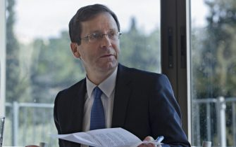 Isaac Herzog, leader of the Zionist Union party and the Israeli Labor party, speaks to journalists in the Jerusalem Press Club in Jerusalem, Israel, 10 February 2016. Herzog reiterated the Labor party's commitment to a two state solution to the Israeli - Palestinian conflict, and has put forward his new idea of 'separation' and completing the 'separation fence or wall, to ensure better security to Israeli during this time of increased Palestinian stabbing attacks on Israelis.  ANSA/JIM HOLLANDER
