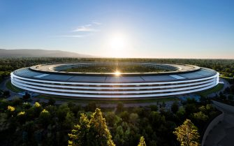 epa08502361 Handout image released by Apple showing Apple Park where the 2020 Apple Worldwide Developers Conference (WWDC) at Steve Jobs Theater in Cupertino, California, USA 22 June 2020. WWDC, in its 31st year and held virtually for the first time, runs through June 26.  EPA/BROOKS KRAFT / APPLE / HANDOUT EDITORIAL USE ONLY, NO SALES