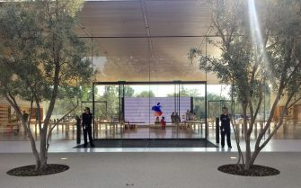 (170912) -- CUPERTINO (U.S.), Sept. 12, 2017 () -- Security personnel are seen inside Apple Park as a special event is held in Cupertino, California, the United States on Sept. 12, 2017. Apple Inc. released a series of new products and services in Cupertino on Tuesday. (/Dong Xudong)