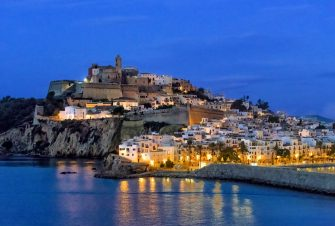 Ibiza Town and the cathedral of Santa Maria d'Eivissa at night in the Balearic Islands of Spain. (Photo by: John Greim/Loop Images/Universal Images Group via Getty Images)