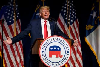 GREENVILLE, NC - JUNE 05: Former U.S. President Donald Trump addresses the NCGOP state convention on June 5, 2021 in Greenville, North Carolina. The event is one of former U.S. President Donald Trumps first high-profile public appearances since leaving the White House in January. (Photo by Melissa Sue Gerrits/Getty Images)