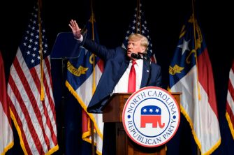 GREENVILLE, NC - JUNE 05: Former U.S. President Donald Trump addresses the NCGOP state convention on June 5, 2021 in Greenville, North Carolina. The event is one of former U.S. President Donald Trump's first high-profile public appearances since leaving the White House in January. (Photo by Melissa Sue Gerrits/Getty Images)