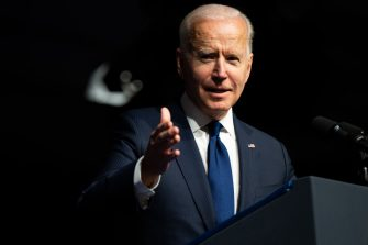 TULSA, OKLAHOMA - JUNE 01: U.S. President Joe Biden speaks at a rally during commemorations of the 100th anniversary of the Tulsa Race Massacre on June 01, 2021 in Tulsa, Oklahoma. President Biden stopped in Tulsa to commemorate the centennial of the Tulsa Race Massacre. May 31st of this year marks the centennial of when a white mob started looting, burning and murdering in Tulsa's Greenwood neighborhood, then known as Black Wall Street, killing up to 300 people and displacing thousands more. Organizations and communities around Tulsa continue to honor and commemorate survivors and community residents. (Photo by Brandon Bell/Getty Images)