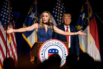 GREENVILLE, NC - JUNE 05:  Laura Trump speaks at the NCGOP state convention as former U.S. President Donald Trump on June 5, 2021 in Greenville, North Carolina. Laura Trump put rumors to bed by announcing she would not be running for the N.C. Senate. The event is one of former U.S. President Donald Trumps first high-profile public appearances since leaving the White House in January. (Photo by Melissa Sue Gerrits/Getty Images)